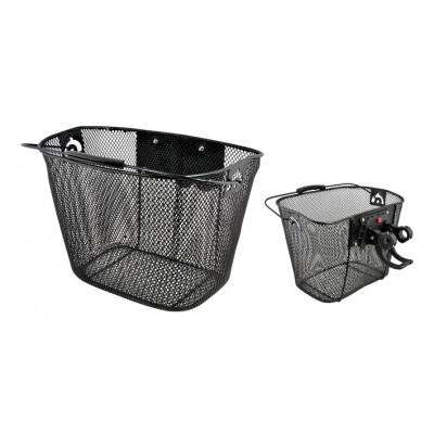 Košík predný kovový clip-on na riaditká čierny